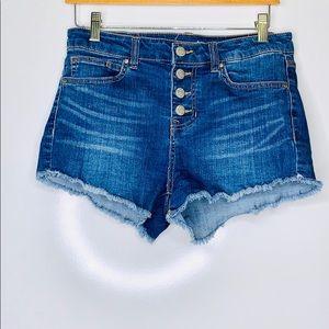 WILD BLUE • High Rise Denim Button Fly Shorts